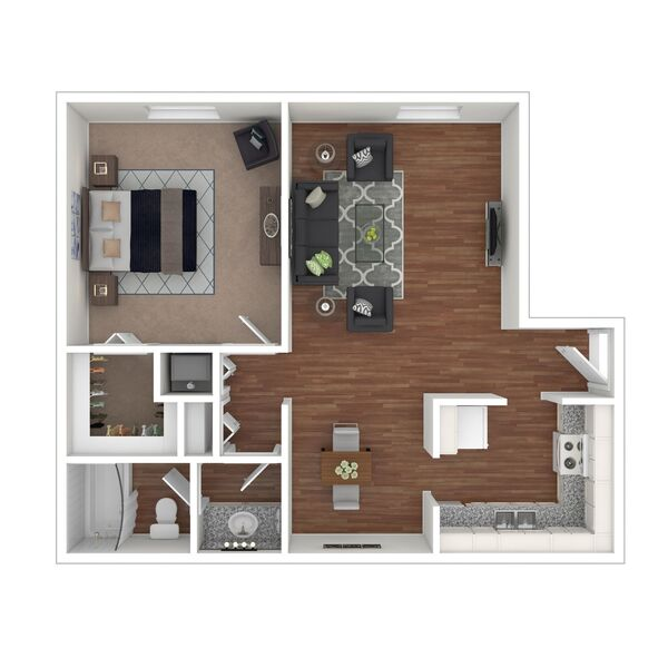 1 Bedroom 1 Bath (A2)