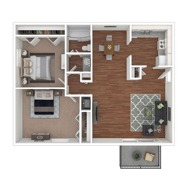 2 Bedroom 1 Bath (B3)
