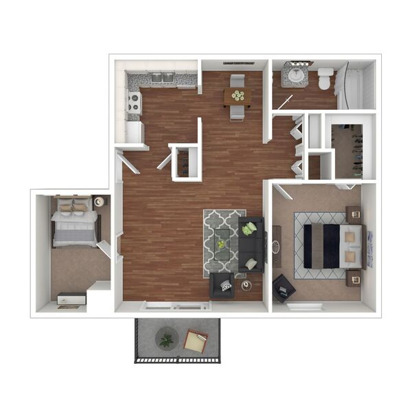 2 Bedroom 1 Bath (B2)