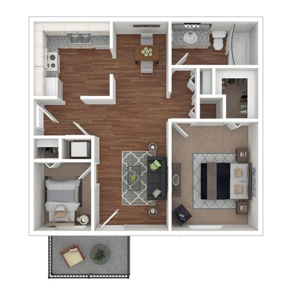 2 Bedroom 1 Bath (B1)